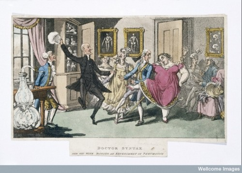 Doctor and Mrs Syntax, with a party of friends, experimenting with laughing gas. Credit: Wellcome Library, London.