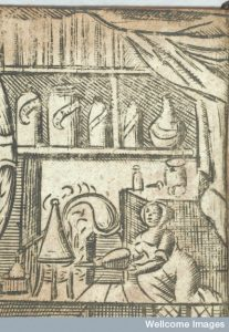 Woman distilling. From The accomplished ladies rich closet of rarities, 1691. Image Credit: Wellcome Library, London.