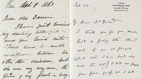 Carta de Darwin a Hooker. Cortesía de Darwin Estate y Cambridge University Library.