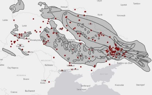 POW camp locations in Ukraine and coal basins, 1942–54.
