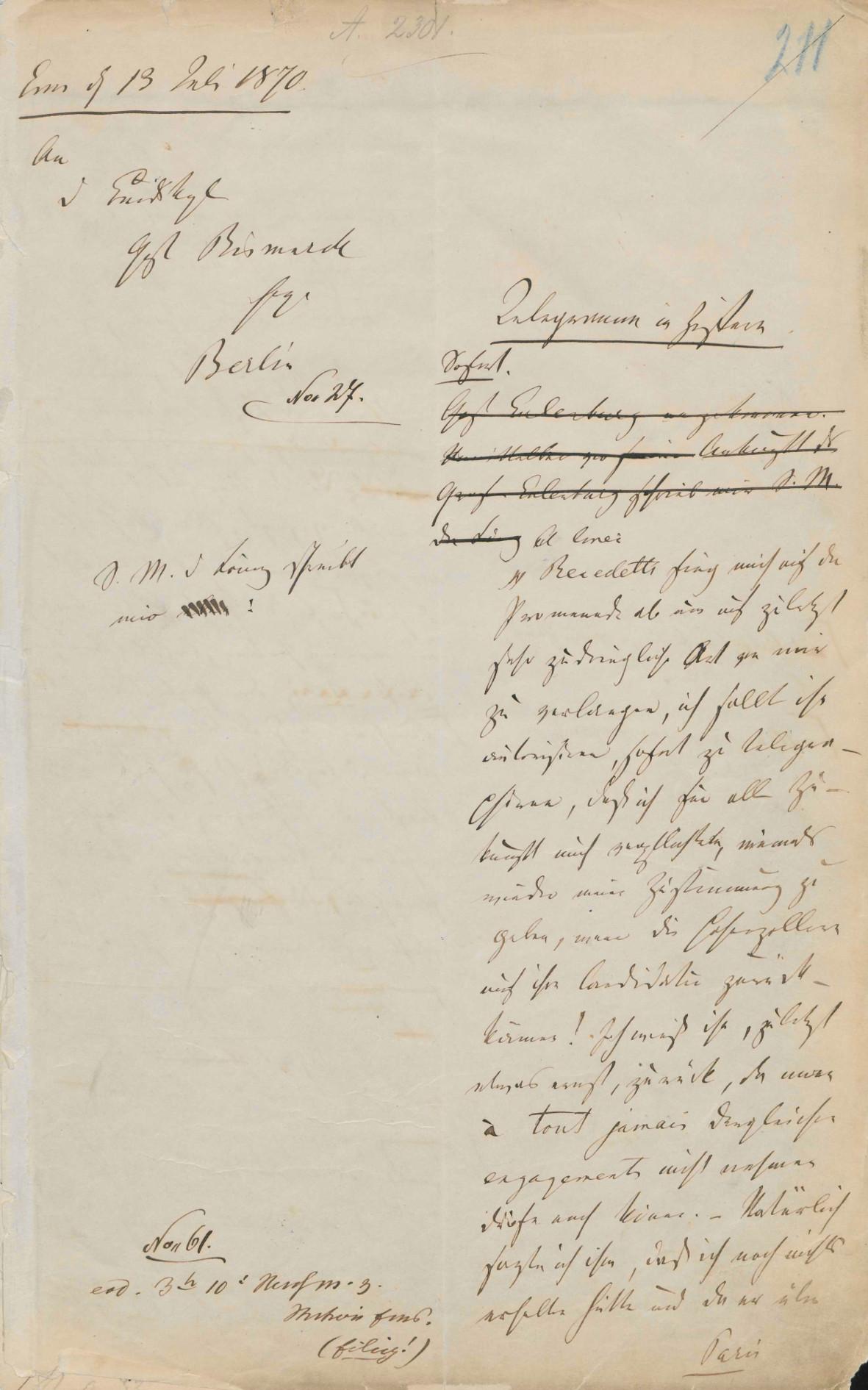 Emser Depesche - Abekens Konzept (Vorderseite) PA AA, R 11674, Bl. 211 r