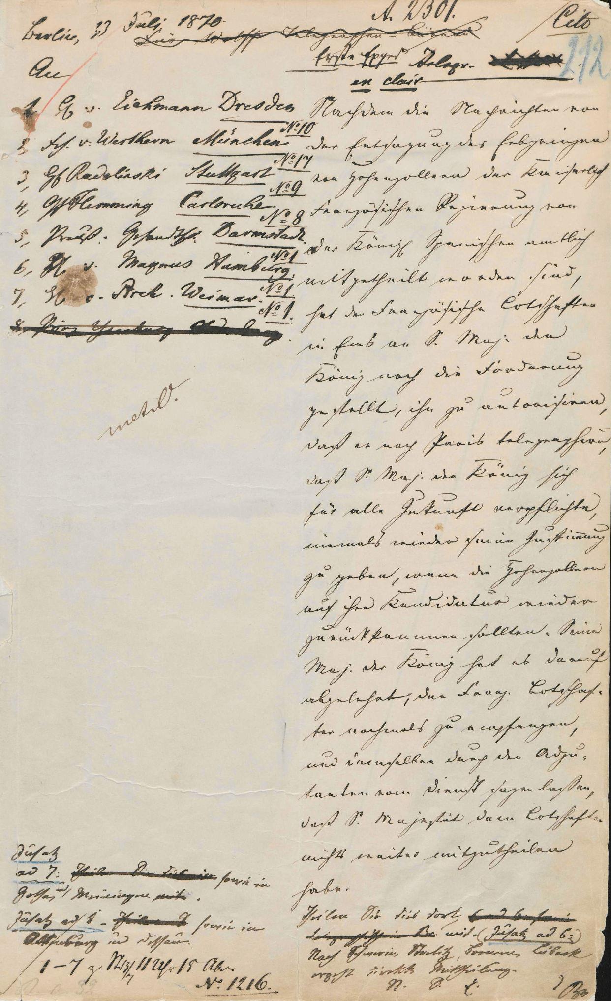 1. Expedition des redigierten Depeschentexts (PA AA, R 11674)
