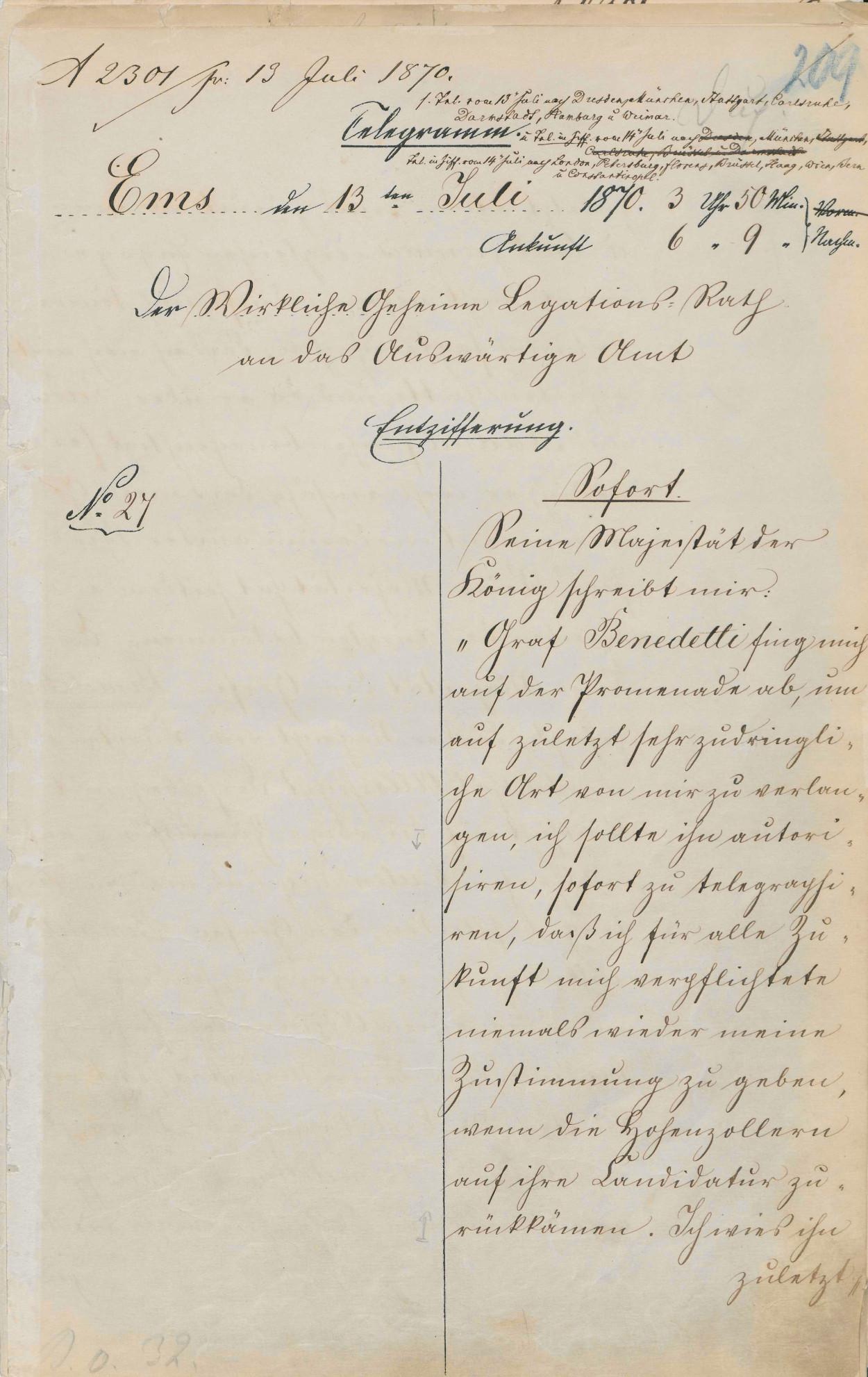 Emser Depesche - Entzifferung, PA AA, R 11674, Bl. 209 r