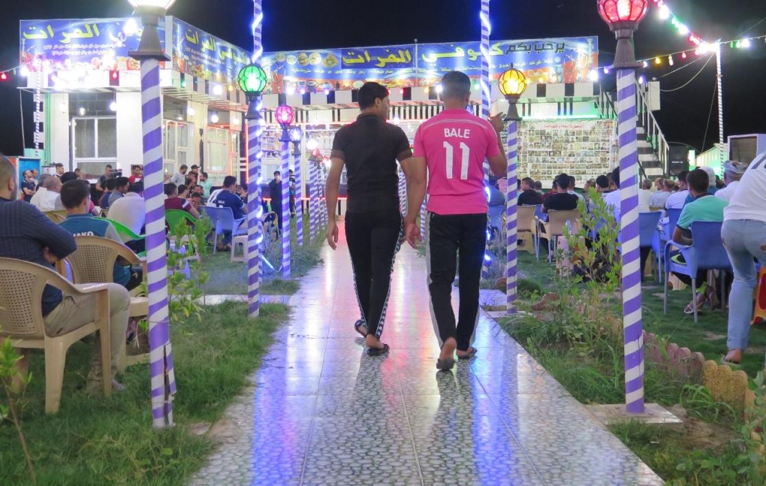 Le café Al-Furat à Balad, le soir de la finale de la Ligue des champions (photo AFP).