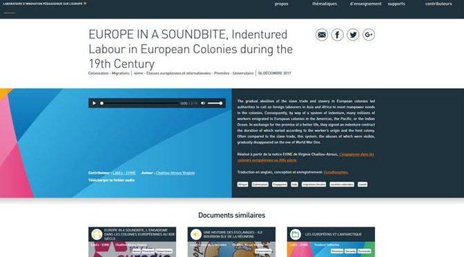 Une nouveau type de ressource pédagogique sur la plateforme LIPE : Europe in a soundbite !
