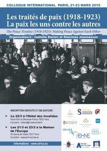Colloque international, Les traités de paix (1918-1923) : la paix les uns contre les autres (21/ 23 mars, Paris)