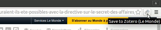 Exemple du nouveau bouton Chrome sur la page lemonde.fr