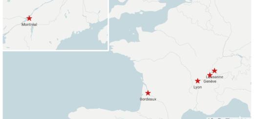 Carte de la localisation des membres de la rédaction réalisée à l'aide de Datawrapper