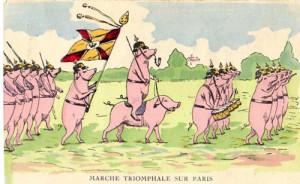 """Carte postale française représentant l'""""armée allemande"""""""