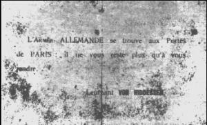 Tract allemand lancé sur Paris le 30 août 1914 par l'aviateur Van Hiddessen