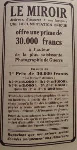 Encart paru pour la première fois dans le n° du 21 mars 1915, lançant le grand concours de photographies de guerre.