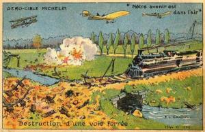 Carte postale illustrant la vision des frères Michelin concernant l'aviation de bombardement.