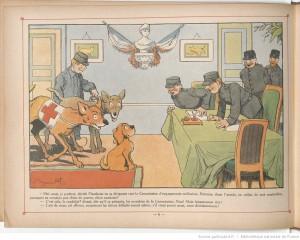 Flambeau, chien de guerre. Dessin de Benjamin Rabier. Source : Gallica.