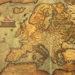 Reproduction of 16th century map of Europe