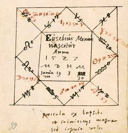 Horoskop für Eusebius Menius aus der Hand Philipp Melanchthons. FBG, Chart. A 384, Bl. 66r. (Foto: Sergej Tan)