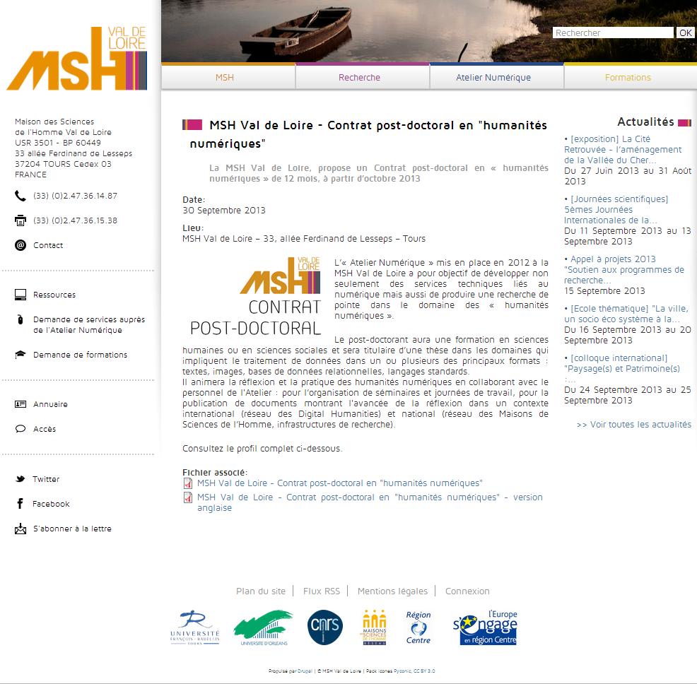 MSH Val de Loire   Contrat post doctoral en  humanités numériques    MSH Val de Loire