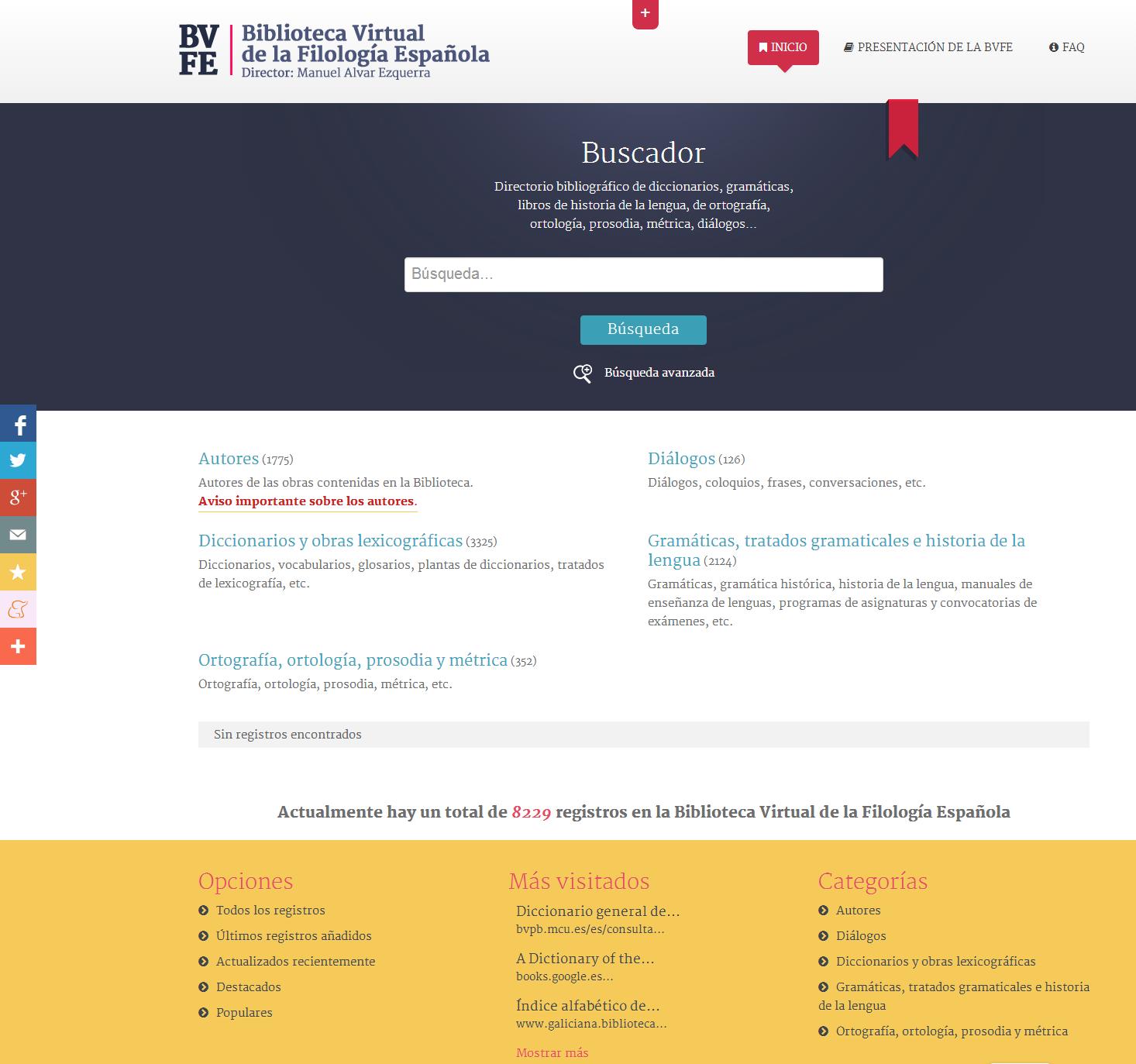 BVFE   Biblioteca Virtual de la Filología Española  directorio de gramáticas  diccionarios  ortografías  etc.