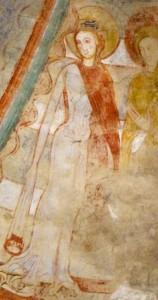 compagnon de Sainte Catherine, fin XIIe s. Crypte de l'église Notre-Dame, Montmorillon (Vienne) / Cliché S. G. Heller