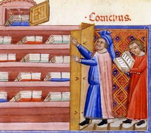 « Cornelius Nepos découvre dans une armoire l'Histoire de Troie de Darès le Phrygien »  Benoît de Sainte-More, Roman de Troie, Paris, BnF, anonyme, début du XIVe s.