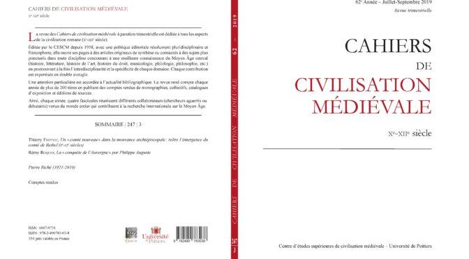 Cahiers de civilisation médiévale 62 (247/3)