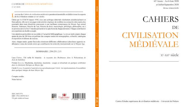 Cahiers de civilisation médiévale 63 (fascicules 250-251)