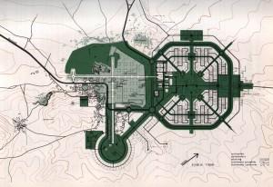 Projet primé de plan d'urbanisme pour Baalbek, 1964 (non réalisé). Source: Al Mouhandess, 1968