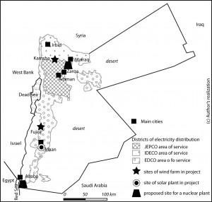 Districts de gestion électriques et principaux projets de centrales et de lignes HT en Jordanie