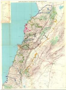 Carte touristique du Liban sur laquelle sont reportées les itinéraires des visites de terrain du Père Lebret (source : CD Rom accompagnant le le livre (c) Geuthner)