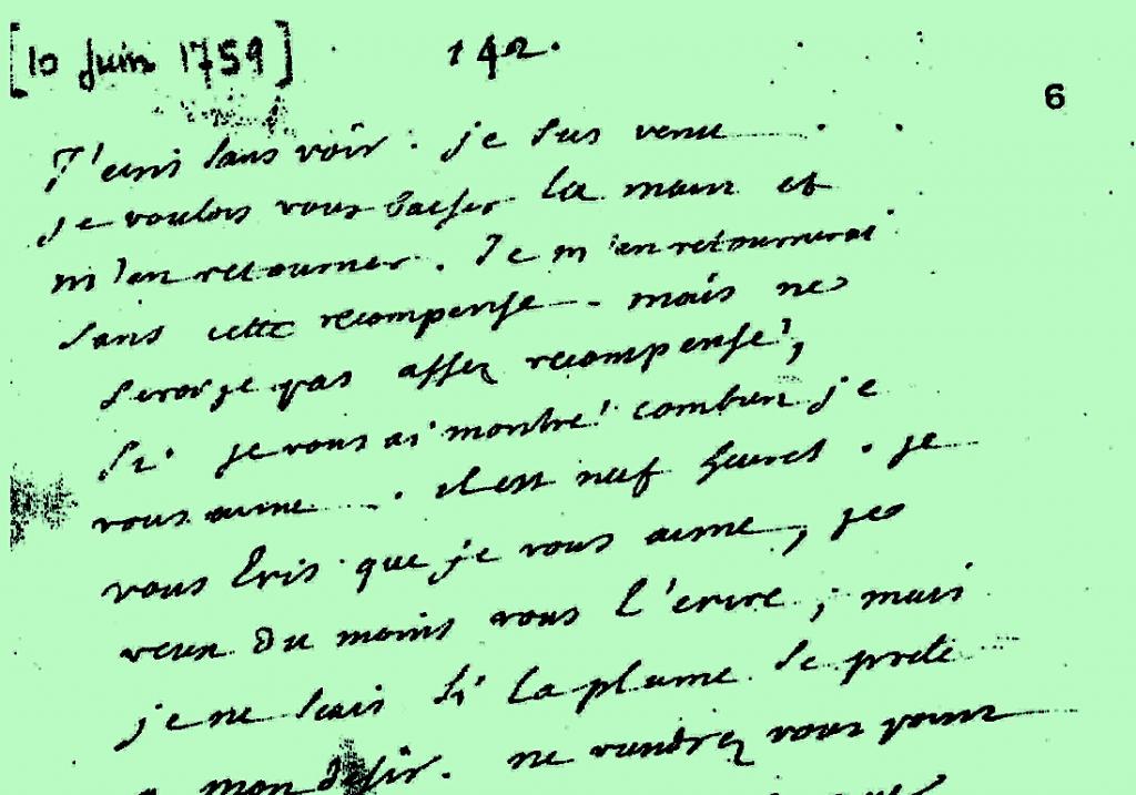 Diderot, Lettres à Sophie Volland, Bnf, Département des Manuscrits, microfilm 1003 (folio 6). Détail