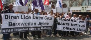 Widerstand Lice Widerstand Gezi - Wir wollen keine Polizeistation, wir wollen Frieden.  Q: http://haber.sol.org.tr/devlet-ve-siyaset/kesk-lice-icin-yurudu-haberi-75534