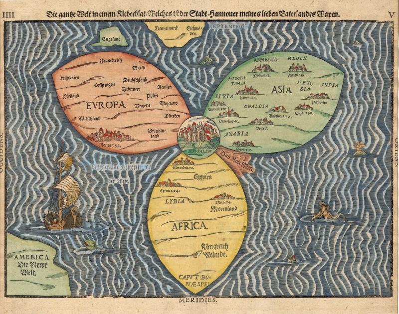 Heinrich Bunting's 1581 Cloverleaf Map