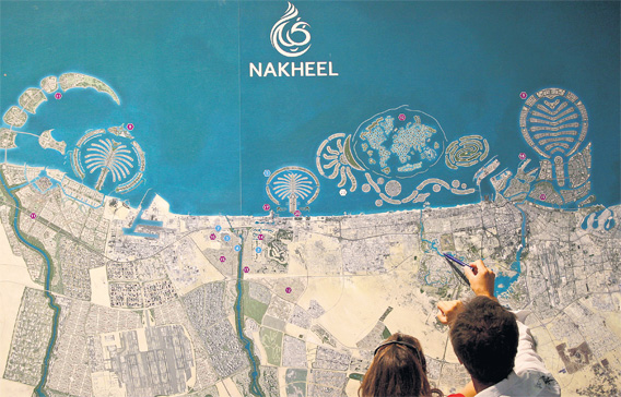 Dubai mapping dreams centres and centralities the dubai project map of nakheel properties taken from emirates247 newspaper gumiabroncs Images