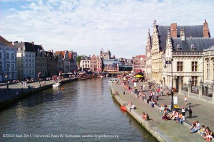 The Historical centre of Ghent in the Flanders, Belgium.