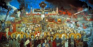 Eternal Russia,, by Ilya Glazunov, 1988, Canvas, oil. 300 x 600.