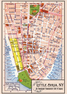 Figure 2: An old postcard showing the location of Little Syria, around Washington Street in lower Manhattan.