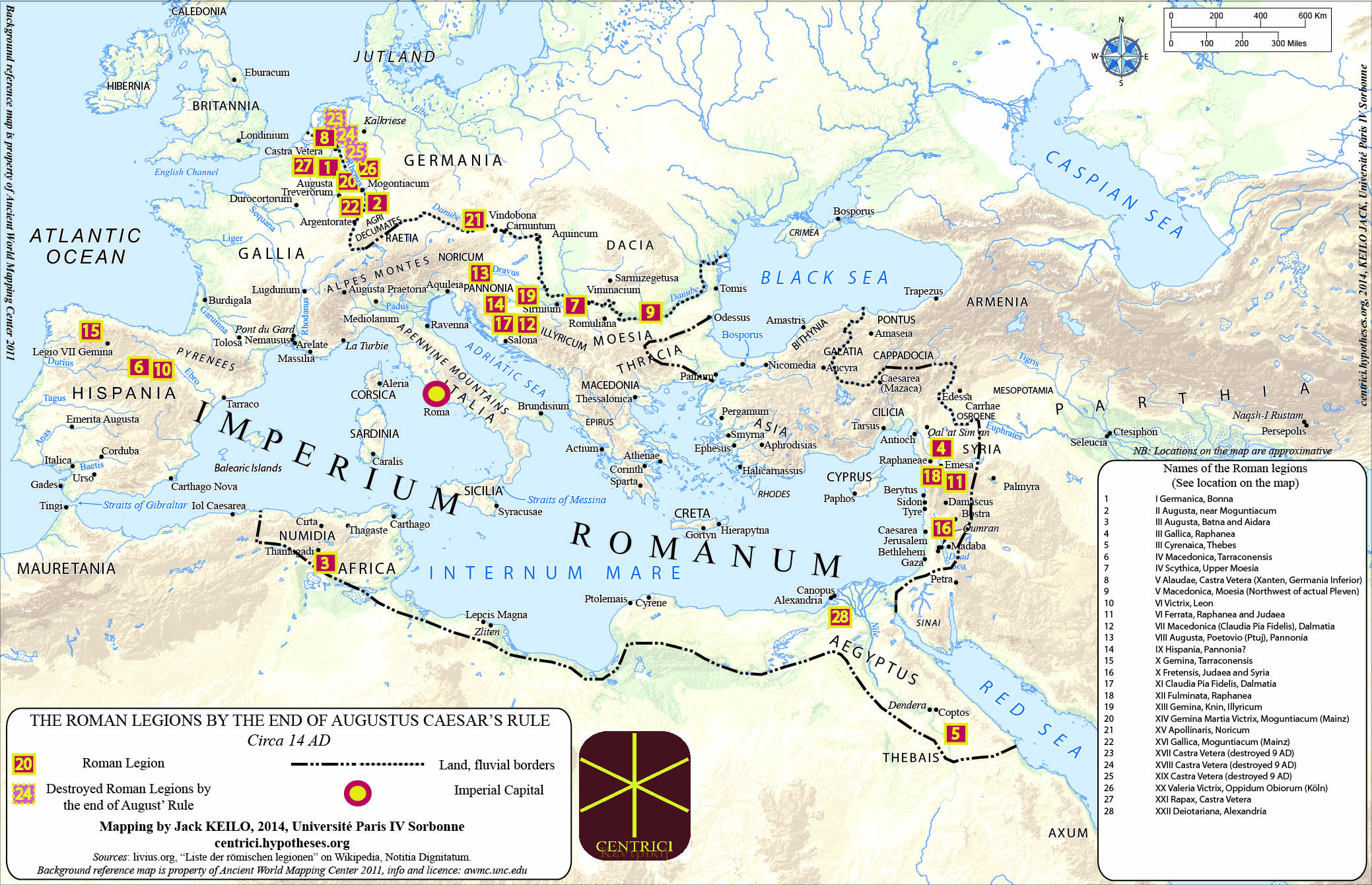 "mapping roman legions how ""limits"" tell about the centre  - figure  roman legions c  d"