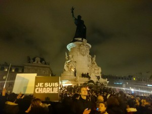 The support to CharlieHebdo at Place de la République, Paris, 7 January at 6:30 pm