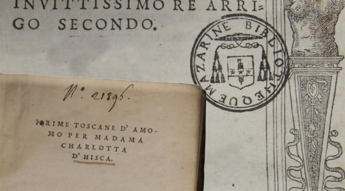 Exposition «Livres italiens imprimés à Paris à la Renaissance»