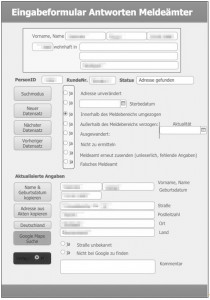 Screenshot des Datenbanklayouts zur Digitalisierung der Einwohnermeldeamtsrückmeldungen
