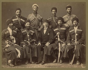 Group portrait of eight Circassian men in uniform, with another man, possibly an Ottoman official. Photo: Abdullah frères, between 1880 and 1900. Library of Congress Prints and Photographs Division Washington, D.C. 20540 USA. No known restrictions on publication in the U.S.