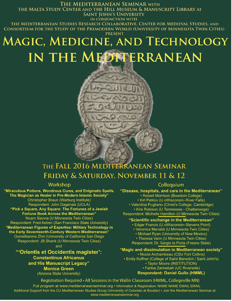 Affiche des journées d'étude « Magic, medicine, and technology in the Mediterranean »
