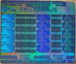 Photographie d'un microprocesseur récent.