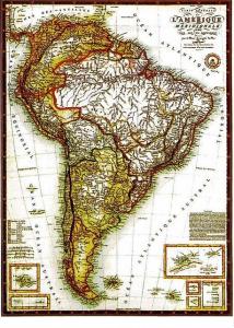"""""""Carte générale de L'Amérique Meridionale et des îles qui en dépendent"""", por Adrien Hubert Brué (1826)"""