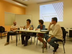 Mesa redonda de apertura del Seminario. De izquierda a derecha: Diego Mauro, Dora Barrancos, María Sierra y Juan Pro