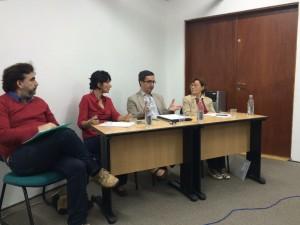Un momento de la conferencia del Fórum Almanack (Universidade de São Paulo, 1 de diciembre 2015). De izquierda a derecha: André Roberto de Arruda Machado (UNIFESP), Andréa Slemian (UNIFESP), Juan Pro (UAM) e Izabel Marson (UNICAMP).