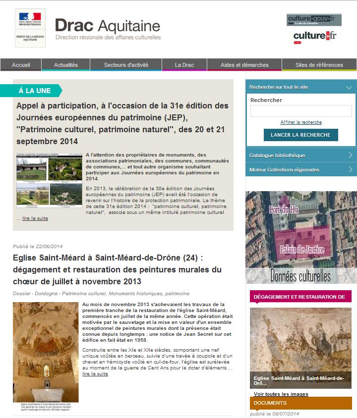 Capture écran du site Internet de la DRAC Aquitaine prise le 01 septembre 2014.