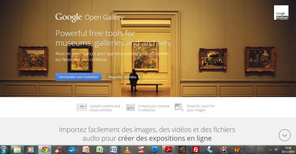 Capture écran de la présentation, sur le site du Google Cultural Institut, du Google Open Gallery. Capture faite le 19 décembre 2014.