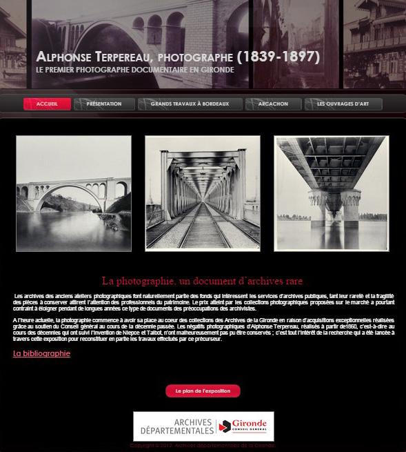 """Capture écran de l'exposition virtuelle """"Alphonse Terpereau"""" mise en ligne par les AD33. Capture faite le 19 décembre 2014."""
