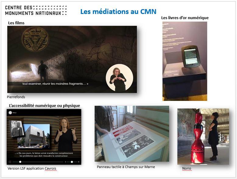 Quelques exemples de médias exploités dans différents sites gérés par le Centre des Monuments Nationaux. © Alexandra Dromard pour le CMN, 2016.