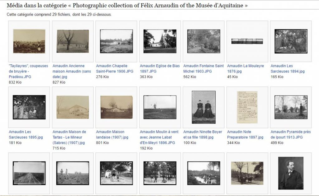 Capture écran présentant la sélection de reproductions numériques issues du fonds Félix Arnaudin du Musée d'Aquitaine de Bordeaux.